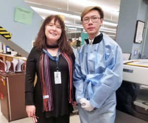student intern with healthcare worker in hospital setting